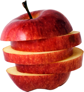 A red apple cut into slices